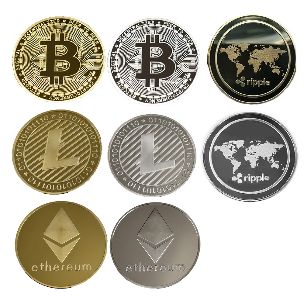 Framed Gold & Silver Plated Bitcoin/Litecoin/Ripple/Ethereum 3