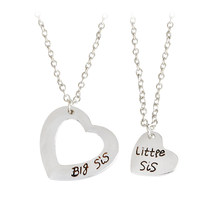 2pcs/set Engarved Big sis Little sis Double Hollow Heart Pendant Necklace Simple Special Gift For Sisters Family Jewelry(China)