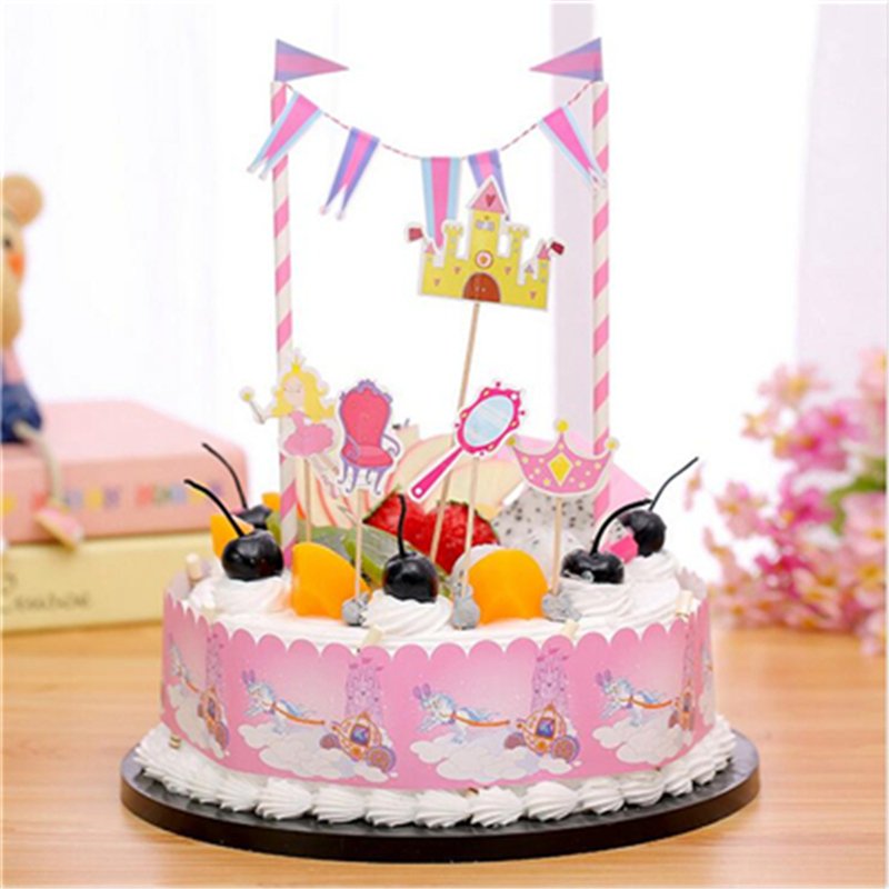 1Set Cartoon Princess Crown Style Birthday Cake Topper Party Decorations Kids Happy Supplies Baby Shower Girl