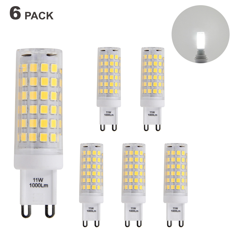 Brightest G9 GU9 LED Capsule Light Bulbs 11W 1000Lm Small Corn Light Bulbs Cool White 6000K AC220-240V G9 LED ...