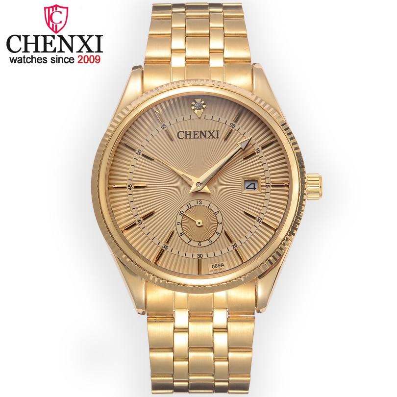 CHENXI Marque Calendrier Or Montres À Quartz Hommes De Luxe Vente Chaude Montre-Bracelet D'or Horloge Mâle Strass Montre Relogio Masculino