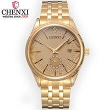 CHENXI Marca Calendario de Oro de Cuarzo Relojes de Lujo de Los Hombres Reloj de Pulsera Vendedora Caliente de Oro Reloj Masculino Rhinestone Reloj Relogio masculino