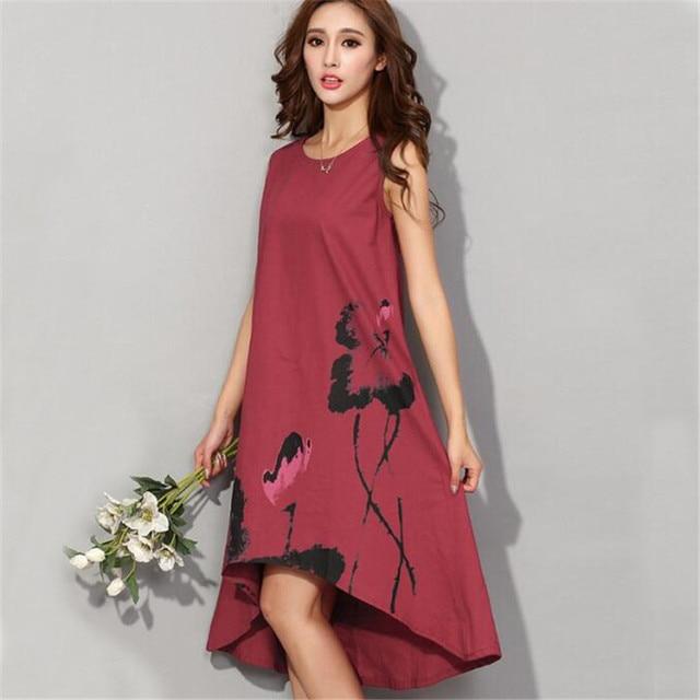 2bc6cfbeac2 M-6XL Women Summer Dress Vintage Cotton Linen Dress Ladies Loose Casual  Dresses Sleeveless Print Vestidos Oversize Clothing A770