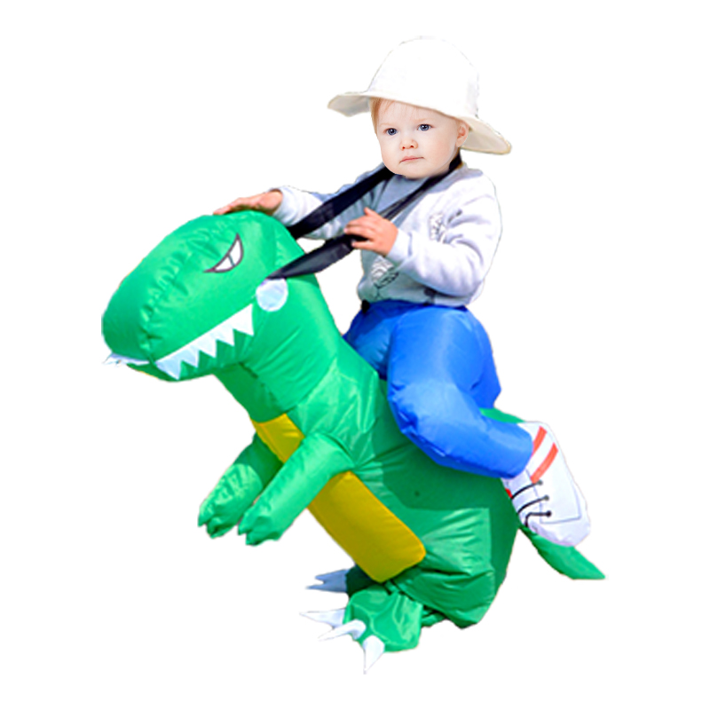 Dinosaur Costume Cosplay Fan Operated T Rex Inflatable Dinosaur Outfit Mascot Halloween Costume for Kids and Adult Dino Rider