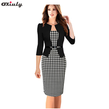 Oxiuly Women Faux Twinset Patchwork Dress Belted Tartan Floral Houndstooth Plaid Print Work Business Sheath Bodycon