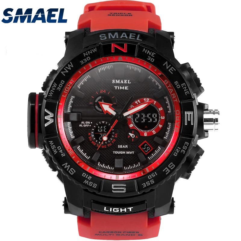 Fantastic Fashion Red Band Man Sport Waterproof Outdoor Young Men Dual Digital Diplay Watch New Clock Cool Look SMAEL 1531 fantastic watch men 1pc men
