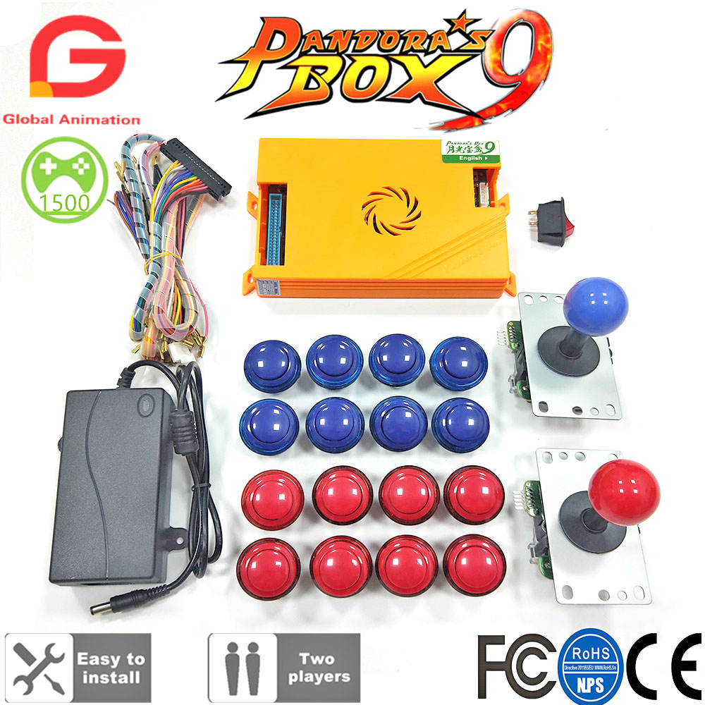 Original Pandora Box 9 1500 Games Set DIY Arcade Kit Push Buttons Joysticks Arcade Machine Bundle Home Cabinet With Manual