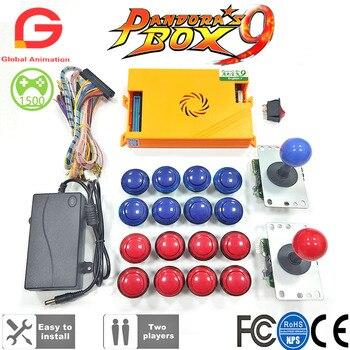 Original Pandora Box 9 1500 Spiele Set DIY Arcade Kit Push-Taste Joystick Für Arcade Maschine Bundle Hause Schrank mit manuelle