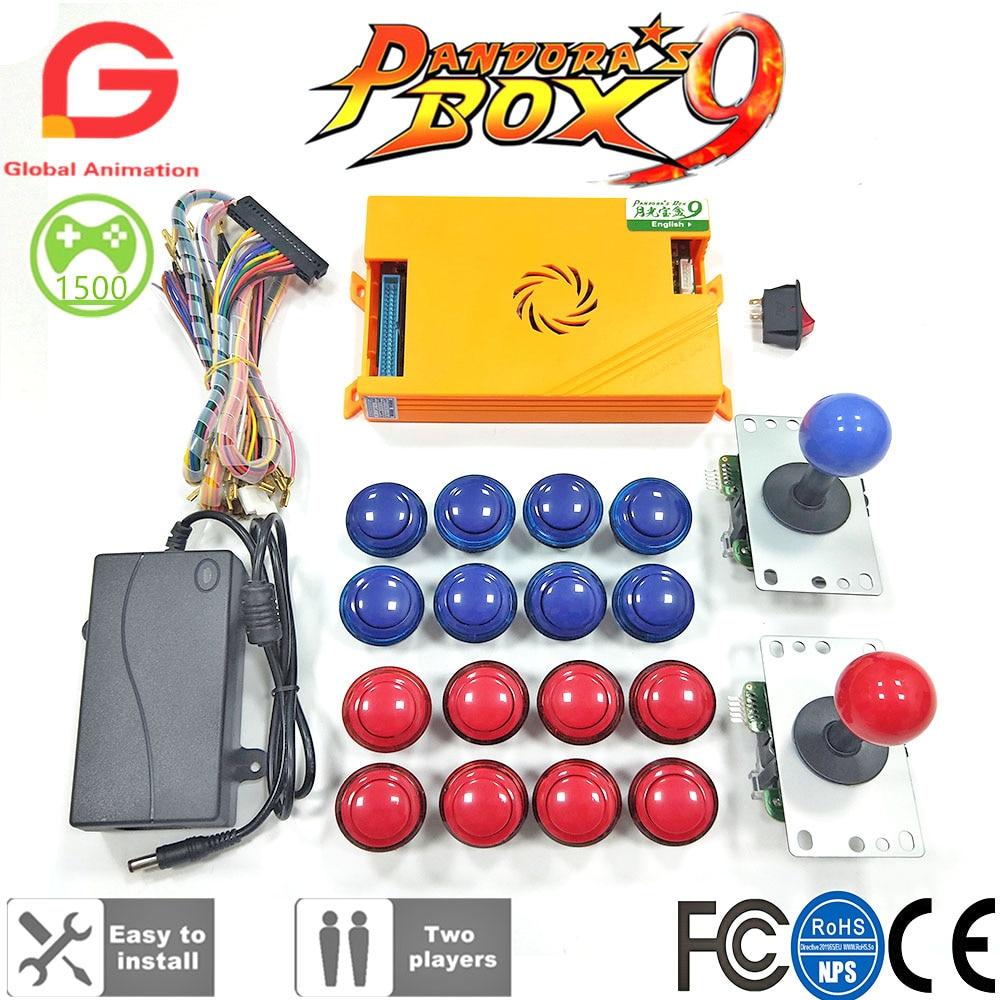 Original caixa de pandora 9 1500 jogos conjunto diy kit arcade botão joystick para arcada máquina pacote casa gabinete com manual