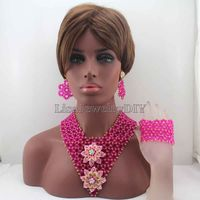Exclusive New Fuschia Pink Indian Wedding African Beads Jewelry Set Women Costume Chunky Necklace Set Bride Free Shipping HD8369