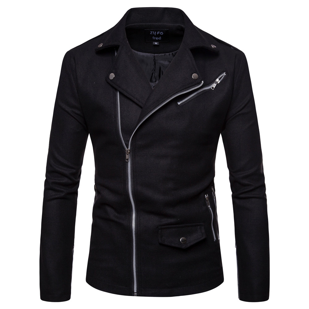 Men's Coat Jacket Spring-Wool-Coat Woolen Fashion Casual Long Solid