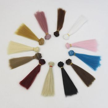 1piece 15cm Black White Brown Color Straight Doll Hair For 1/3 1/4 BJD Diy Handmade Textile Interior Wig