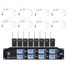 Bolymic Professional 8 Channel Condenser microphone 8 Beige Headsets wireless Microphones