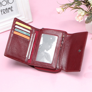 Image 3 - Contacts Genuine Leather Wallet women Short Coin Wallets for Women female Card Holder Small hasp Money Bag portfel damski