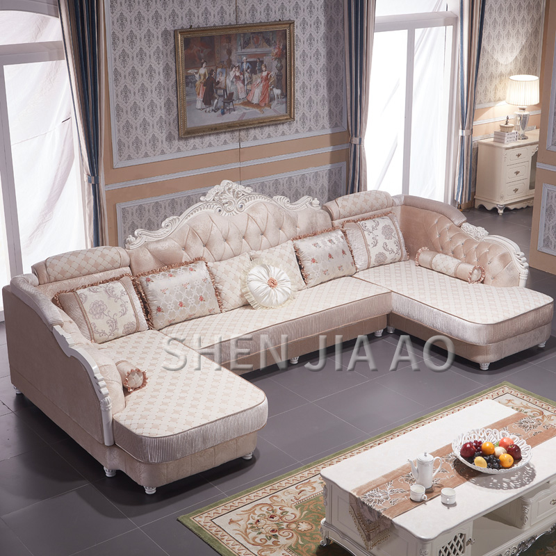 European-style Fabric Sofa Combination U-Shaped Small Living Room Solid Wood Corner Sofa Double Chaise Longue Style Sofa 1PC image