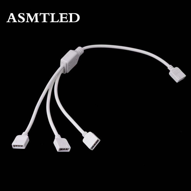 ASMTLED High quality 1pcs 4 <font><b>pin</b></font> <font><b>RGB</b></font> <font><b>Connector</b></font> 1 to 2 <font><b>3</b></font> 4 Female to Female Splitter female extension wire <font><b>cable</b></font> For LED strip image