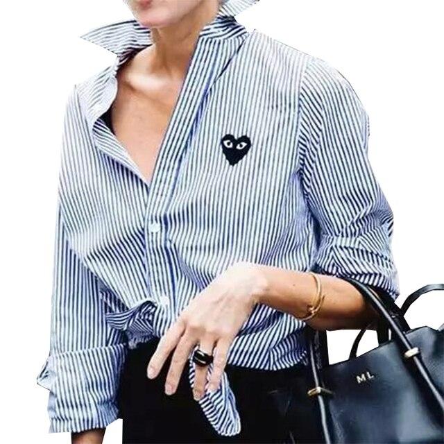 Женщины элегантный полосатый сердце вышивка блузки полный хлопка с длинным рукавом свободные рубашки с отложным воротником повседневная топы blusas LT959