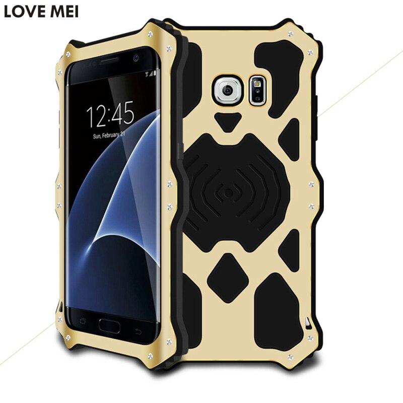 imágenes para Original Amor Mei Caso de Gran Alcance para Samsung Galaxy S7 MK2 Edge/G9350 Silicona A Prueba de Golpes + Aluminio w/Templado Vidrio templado