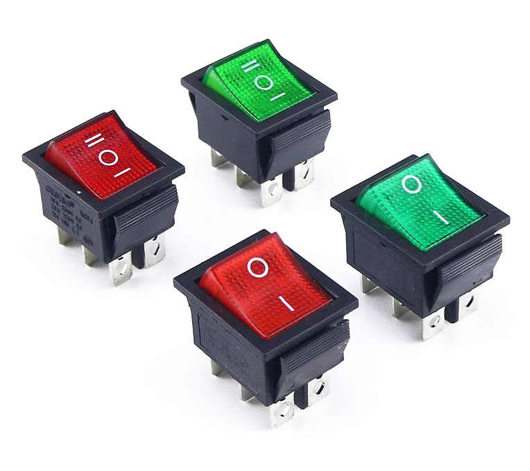 KCD4 Rocker Switch Power Switch 2 Posisi/3 Posisi 6 Pin Peralatan Listrik dengan Saklar Lampu 16A 250VAC/ 20A 125VAC 1 Pcs