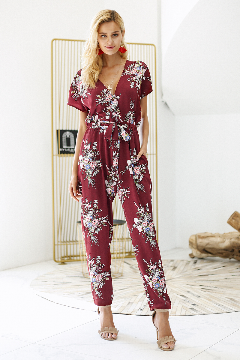 Simplee Vintage floral print boho jumpsuit romper V neck short sleeve casual jumpsuit Loose sash summer jumpsuit women overalls 4