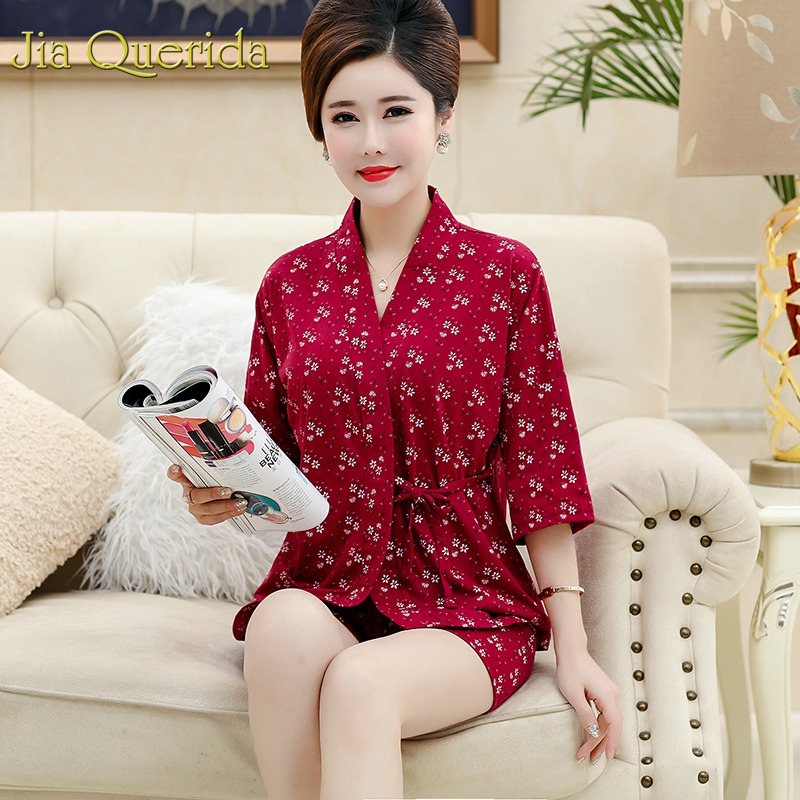 J&Q Pajama Set 2019 Summer Short Lingerie Home Clothes Women Pjs Floral 3/4 Sleeved Kimono Set Mid-aged Ladies Elegant Nightwear