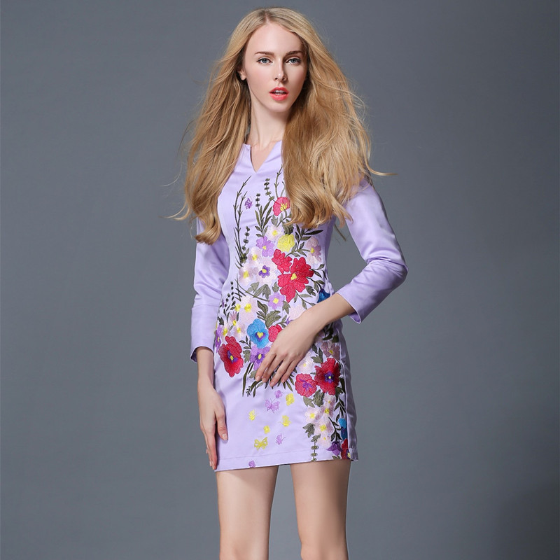 Women's Light Purple Flower Embroidery with Lining Long Sleeve Elegant Cocktail Mini Dress