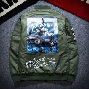 Image 2 - 가을 겨울 Ma1 폭격기 재킷 남자 육군 파일럿 재킷 두꺼운 청소년 펑크 힙합 야구 코트 남성 패션 캐주얼 Streetwear