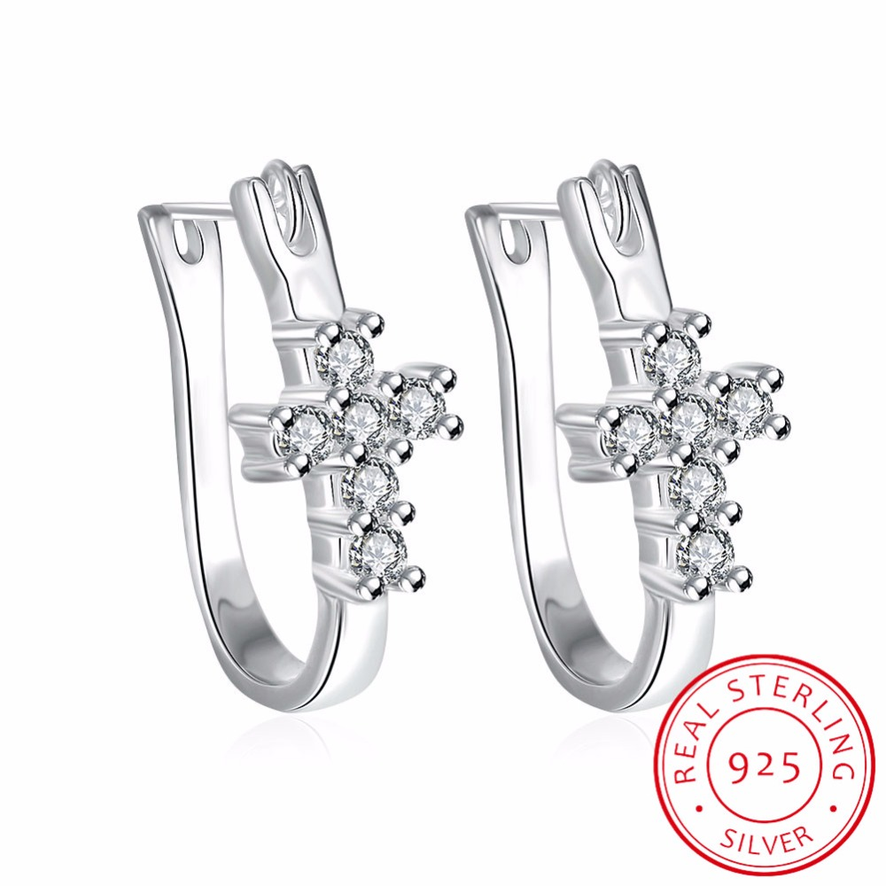 Lekani 925 Sterling Silver Horseshoe Earrings For Women Party Off Whole Cross With Cz Hoop Fine Jewelry In From