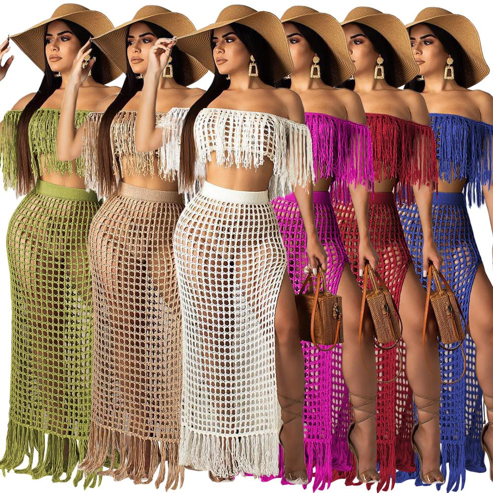Sexy Knitted Cover Ups Beach <font><b>Women</b></font> <font><b>Skirt</b></font> <font><b>Set</b></font> Crocheted Beachwear Slit <font><b>Skirt</b></font> Suit Knit Beach Suit <font><b>Two</b></font> <font><b>Pieces</b></font> Beach Crochet <font><b>Set</b></font> image