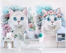 beibehang papel de parede Custom Nordic minimalist flower kitten childrens room decoration background wallpaper hudas beauty