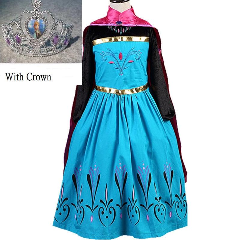 2016 new girls dress Elsa Dress Custom Cosplay Summer Anna Girls Dresses Princess Elsa Costume for Children dress+crown 2piece