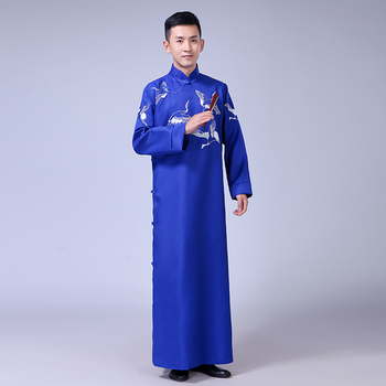Chinese Traditional Folk Crosstalk Robe Women Men Vintage Hanfu Clothes Ancient Style Talk Show Gown Long Performance Clothing