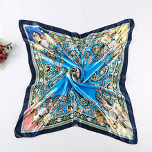 New Fashion Colors Chain Print Satin Square Scarf Women Imitated Silk Scarves Luxury Brand Large Size Polyester Shawl Hijab90*90