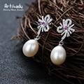 Artilady classic bow design freshwater pearl dangle earrings 925 silver with CZ stone drop earrings for women jewelry gift