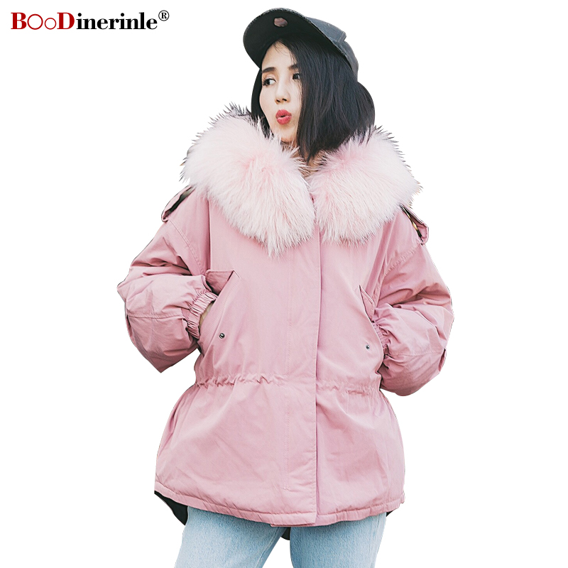 Women's Winter Pink Warm Jackets Female Fashion Big Fur Collar Hooded Short Outerwear Thick White Duck   Down     Coat   Parka YR164