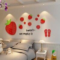 Strawberry Fruit Thiết Kế Dán Tường Acrylic DIY Red Stickers for Kids Room Mẫu Giáo Cửa Hàng Trang Trí