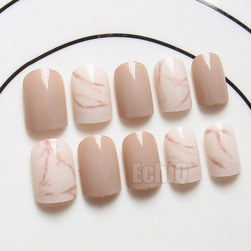 Nude Marble Texture Fake Nails Ink Wind style Full False Nail Tips Patch Art Tool Lady Wear Bride Decoration