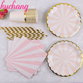65pcs Disposable Tableware Party Pink Sheet of Wave Plaques Striped Straws Cups Napkins Supplies Holder Cake Graduation Party