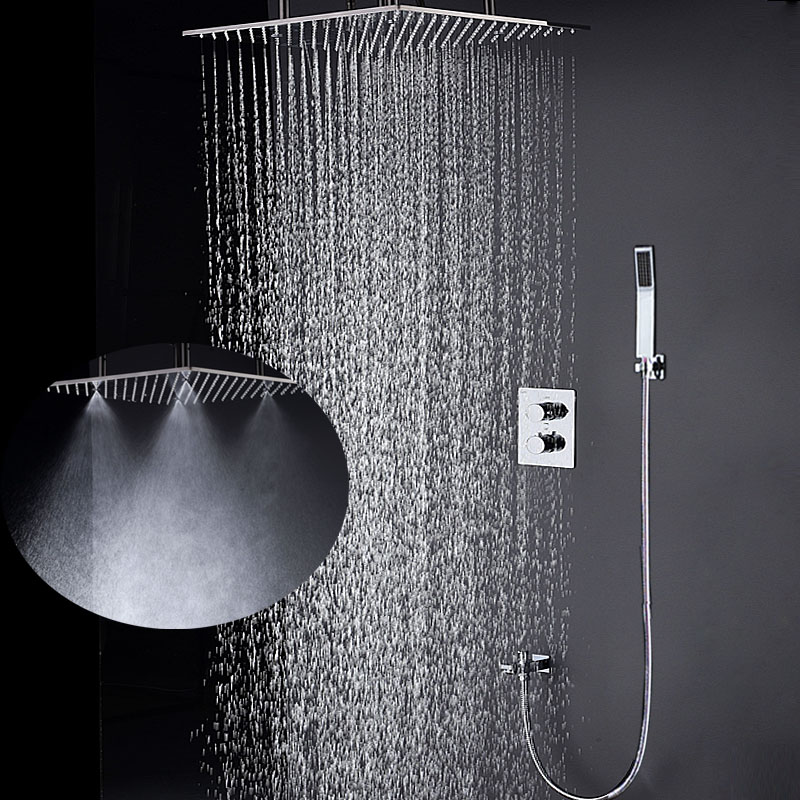 Bathroom Fixtures 20 Inch Ceiling Rain Shower Thermostatic 3 functions Mixer Spa Mist Showerhead