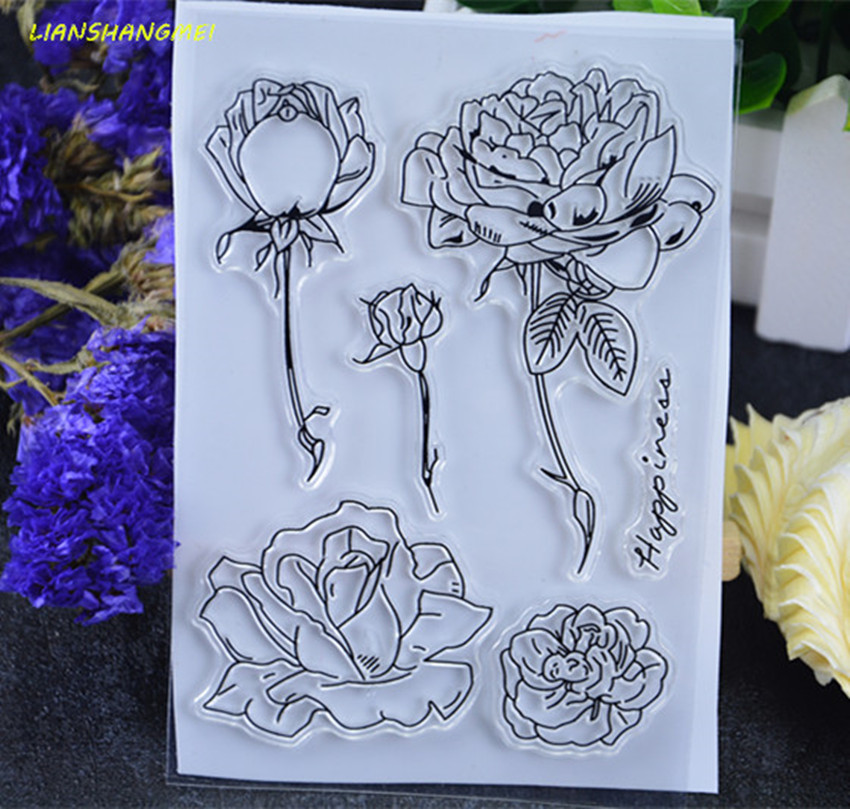 Rose Transparent Clear Silicone Stamp/Seal for DIY scrapbooking/photo album Decorative clear stamp sheets y89 lovely animals and ballon design transparent clear silicone stamp for diy scrapbooking photo album clear stamp cl 278