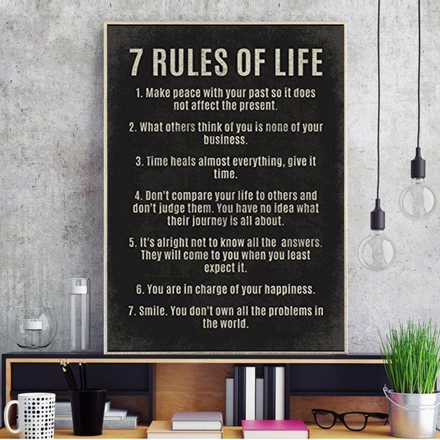 Canvas Painting 60 Rules Of Life Motivational Quotes Poster Wall Art Classy 7 Rules Of Life Quote