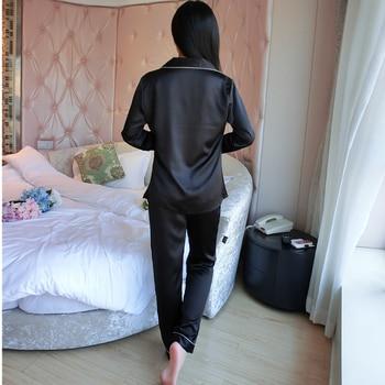 Women Elegant Silk Satin Pajama Set Long Sleeve Pijama Set V-neck Pyjama Femme Solf Sleep Wear Night Wear Fashion Home Clothes 6