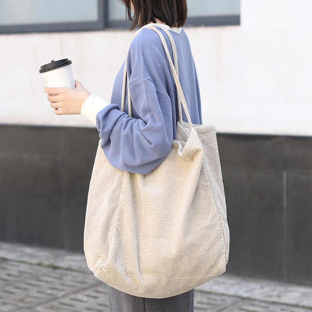 Large Corduroy Eco Tote Bag Shoulder Bag Shopping Bag Handbag