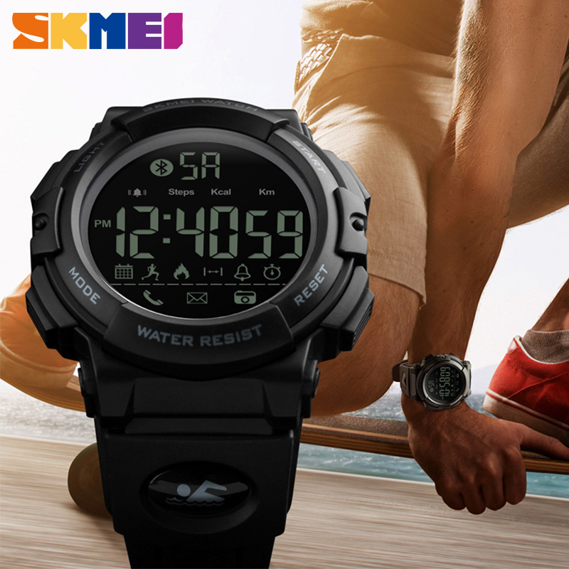 <font><b>SKMEI</b></font> Sports Fitness Digital Watch Bluetooth Smart 5Bar Waterproof Writwatches for Men Women APP Remind Relogio Masculino image