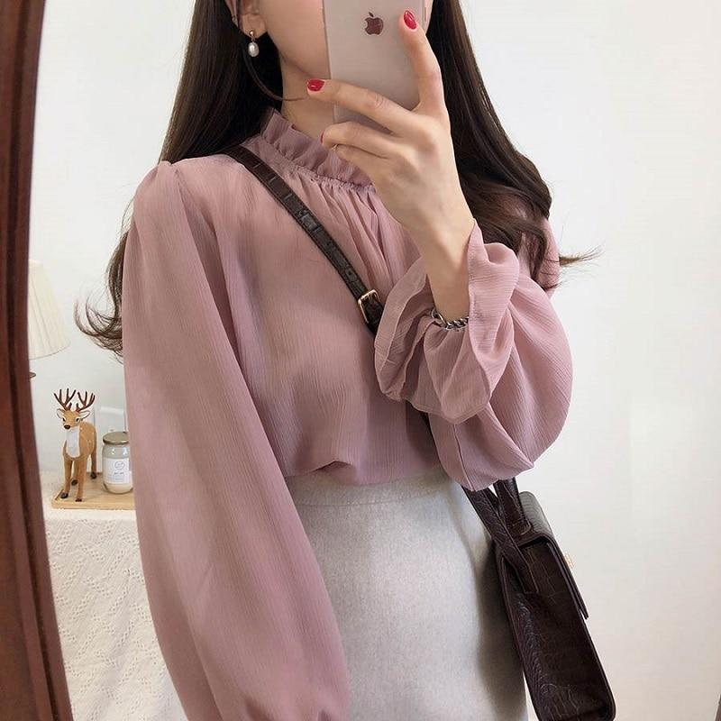 CBAFU Casual Solid Chiffon Women Blouse Summer Tops Flare Sleeve Ruffles Collar Loose Female Shirt Cute Weaat Tops Sexy D966