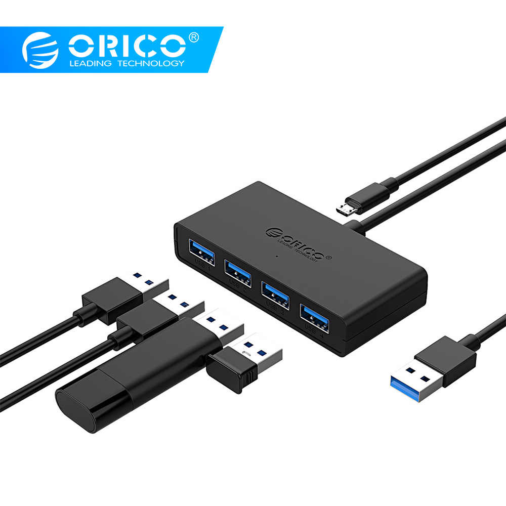 Orico Mini Usb 3.0 Hub 4 Port Power Supply OTG dengan Usb Mikro Power Antarmuka untuk Macbook Laptop Tablet Komputer OTG USB HUB