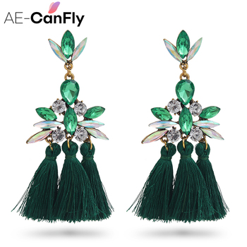 AE-CANFLY Luxury Brand Rhinestone Tassel Earring For Women Party Wedding Dangle Drop Earring brincos Fashion Ear Jewelry