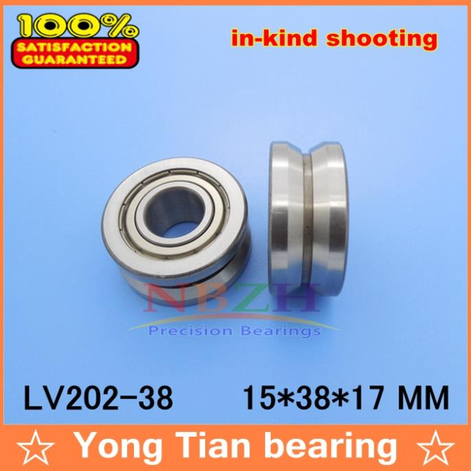 High quality AEBC-5 Z2V2 V Groove Guide roller bearings LV202-38 ZZ V-38 RV202/15.38-10 15*38*17 (Precision double row balls) 50mm bearings nn3010k p5 3182110 50mmx80mmx23mm abec 5 double row cylindrical roller bearings high precision