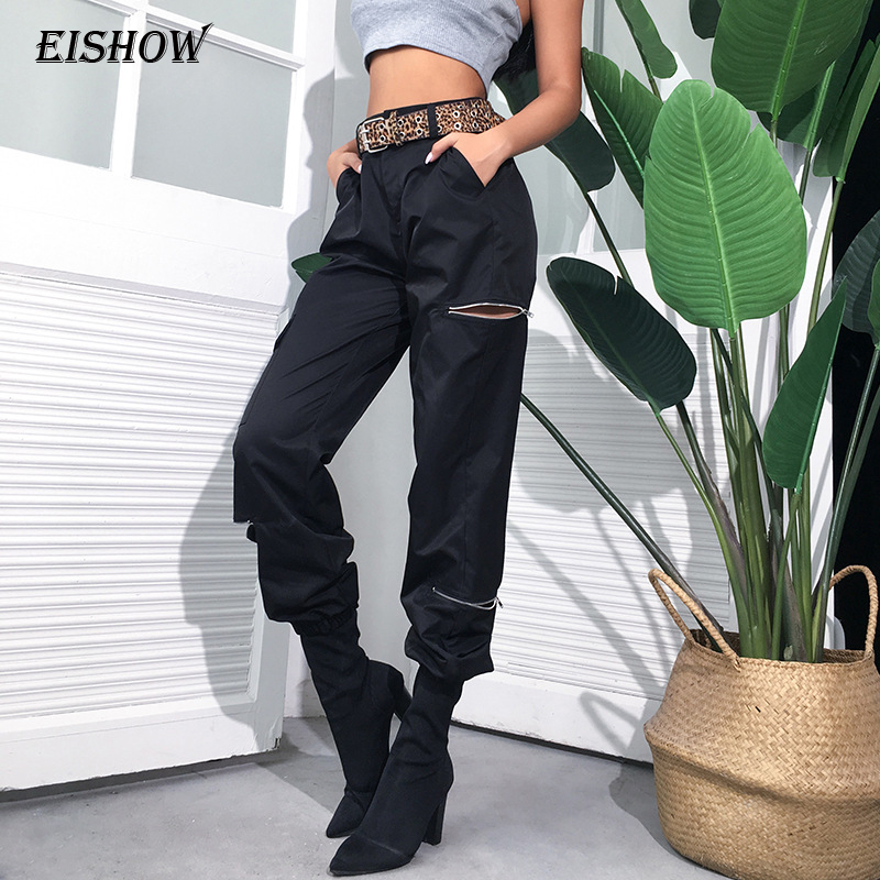 EISHOW Streetwear Casual Cargo   Pants     Capris   Women Elastic High Waist Joggers Zipper Female Fashion Pockets Hip Hop Long Trousers