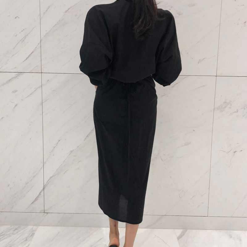 CHICEVER черное платье на шнуровке с высокой талией для женщин с разрезом и рукавом-фонариком, тонкие осенние платья, женская одежда, модная Корейская Новинка